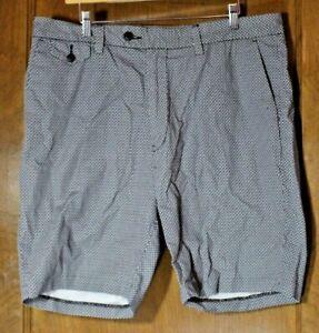 Nautica men's 36 black gray print cotton shorts flat front dress chino EUC