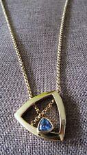 Pierre Lang Collier golden mit blauem Zirkonia Retro-Design
