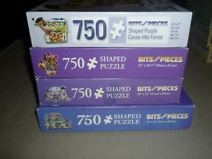 LOT OF 4 BITS & PIECES 750 pc shaped puzzles YOUNG CALF & FRIENDS & MORE  EC