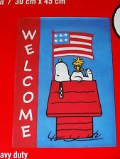 "Peanuts Snoopy Welcome 4th Of July Applique Garden Flag 12""X18""-Free Shipping"