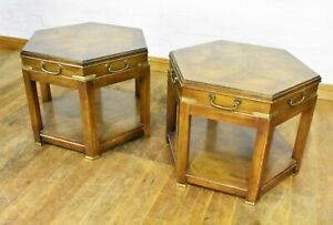 Nice quality - Pair of hexagonal 2 tier side lamp tables