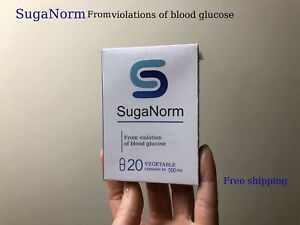 SugaNorm Capsules Normalize Blood Glucose Levels 100% natural supplement 20 caps