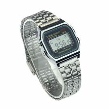 Vintage UNISEX Stainless Steel Wrist Watch Digital Alarm Stopwatch * SILVER