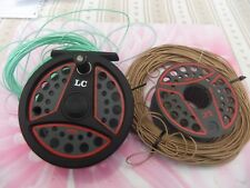 LEEDA LC100 FLY REEL WITH SPARE SPOOL + 2 VERY GOOD FLY LINES - ALL PERFECT