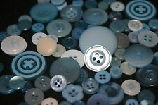 100 Blue Resin Buttons - Sewing, Craft, Scrapbooking