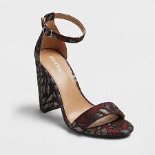NEW Women's Lulu Brocade Block Heel Sandal Pumps - Merona  Burgundy 11