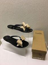 Truffle New Woman Shoes Toe Post Sandals Black Nude Bow PVC  UK Size 5  EU 38