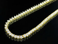 Men's Sterling Silver Yellow Gold Martini Prong Set Simulated Diamond Necklace