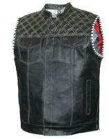 Mens Club Style Perforated US Eagle Liner Motorcycle Conceal Carry Leather Vest