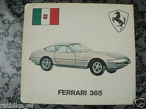 HARDCOVER BOARD 2 PICTURES FERRARI 365 AND TOYOTA CORONA