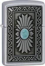 "Zippo ""Southwestern Sun"" Emblem Satin Chrome Finish Lighter, Full Size, 29105"