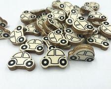 50X Natürliche Holz Auto form Holzperlen Baby Nippelclip Schmuckherstellung 25mm
