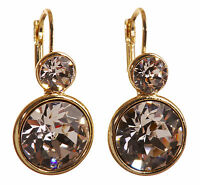 Swarovski Elements Crystal Round Drop Pierced Earrings Gold Authentic New 7261Gv