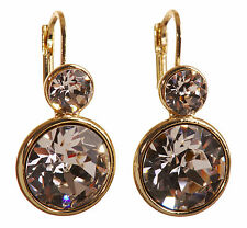 Swarovski Elements Crystal Round Drop Pierced Earrings Gold Authentic New 7261Gy