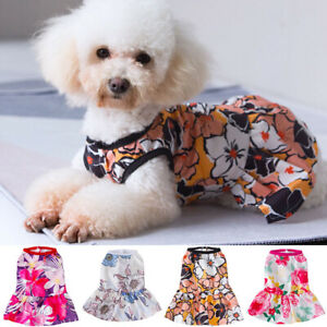 Pet Dress Floral Printed Vest Skirt Puppy Cats Small Dogs Chihuahua Dog Clothes