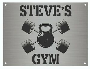 Personalised Gym Sign Metal Plaque Gifts, Bar, Kitchen, A5 size