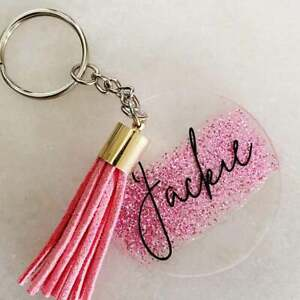 PERSONALISED pretty in pink custom keyring NAME OF CHOICE handmade in  AUSTRALIA