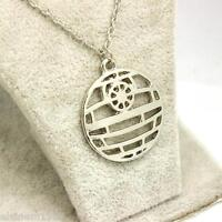 Star Wars Death Star Necklace Pendant. Silver coloured  - UK SELLER