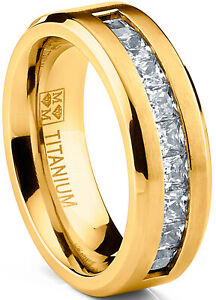 Titanium Men's Wedding Band Engagement Ring with 9 large Princess Cut CZ
