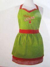 NEW Christmas Holidays Hostess Apron MERRY LICOUS NIP Green Red ~ CUTE & PRETTY!