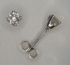 PAIR 1/5CT SOLITAIRE DIAMOND 4 CLAW STUD EARRINGS 9CT WHITE GOLD SCROLLS BOX .20