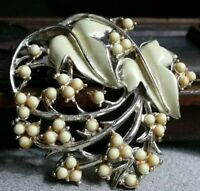 Vintage pin brooch with pale yellow beads and pale green leaves