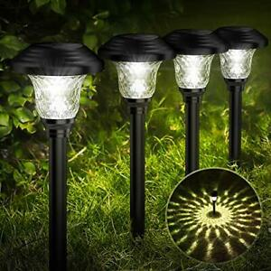 Glass Solar Lights Outdoor 8 Pack Super Bright Solar Pathway Lights Up to 12 H