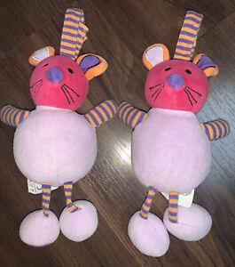 2 Stück- Babylove DM Maus Bär Katze Plüschtier Anhänger Lila Pink Orange Kopf