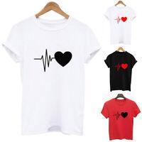 New Woman Short Sleeve T-Shirt Electrocardiogram Print Casual O-Neck Tops Blouse