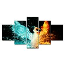 Ice and Fire Phoenix Abstract 5 Pieces Canvas Art Wall Art Picture Home Decor
