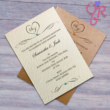50 Personalised Wedding Invitations Day or Evening Invites With Free Envelopes
