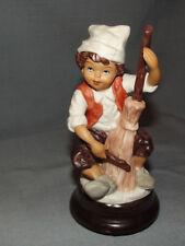 Revolving Musical Figurine Hand Painted Fine Porcelain Boy Band Musician