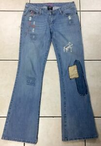 Bubblegum American Flavour Womens Flare Jeans Sz 5/6 Patches Low Rise 32 Inseam