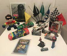 NASCAR DIE CAST CARS JEFF GORDON DALE JR. RACING FLAG DESK SET FAN SOUVENIR LOT