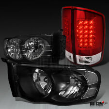 2002-2005 RAM 1500/2500/3500 Pickup Black Headlights+Red/Clear LED Tail Lamps