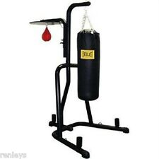 Everlast Dual Station Heavy Punching Bag Boxing Stand MMA Trainer Fitness Gym