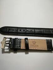 cinturino in vera pelle nera, marcato Rolex swiss made ansa  20mm  fibbia silver