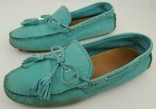 Coach Women's Size 7.5 B Nadia Teal Leather Driving Moc Toe Tassel Loafer Flats