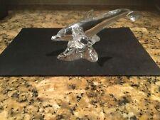 Lenox Art Glass Lead Crystal Small Mini Dolphin on Wave Statue Figurine 1995