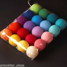 20 cotton ball string lights rainbow rattan christmas party decor wedding colorf