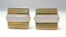 GOLD TONE SQUARE CUFF LINKS W/ MILKY COLORED STONE CENTER ANSON *