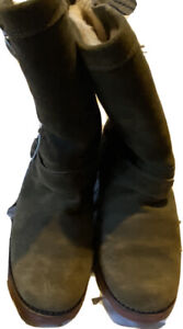 """UGG All Weather 'Vibram' Red Sole Moss Green Suede TALL BOOT """"STOUT & STURDY"""""""