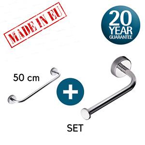 Toilet Roll Holder & Towel Rail Set 50cm,Self Adhesive or Screws,Stainless Steel