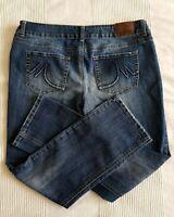 Maurices Sz 11/12 Short Straight Leg Jeans; Dark Wash Stretch Denim (34x28) EUC