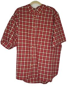 Woolrich Mens Casual Shirt Button Front Pocket Cotton Short Sleeve Red/brown XXL