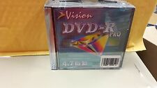 VISION DVD R 4.7GB FACTORY SEALED PRO LOT OF 10 NEW