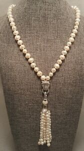 Pearl Tassel Panther Lariat Necklace