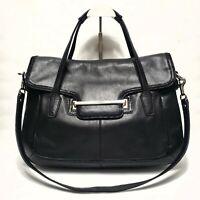 COACH Large Satchel Bag Taylor Black Leather Flap Shoulder Handbag F28622