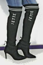 JETTE Damen Stiefel schwarz Textil Pfennigabsatz spitzeSilhouette Gr 36 NEU R125