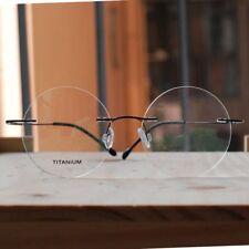 Black Titanium Round Steve Jobs Glasses mens women RX optical Eyeglasses Frame